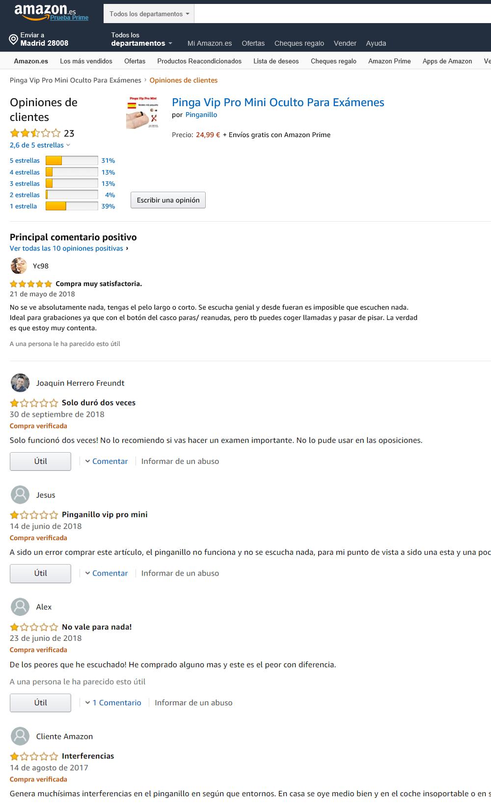 Valoraciones y comentarios pinganillo vip pro